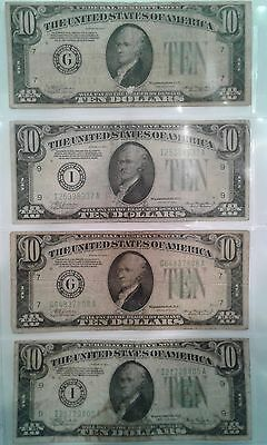 1934 $10 Green Seal notes -- Set of 2 bills, well circulated