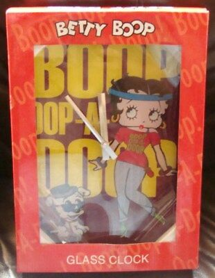 New In Box-=Betty Boop Glass Wall Clock -New In Box