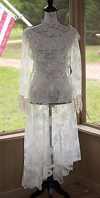 COUNTRY ELEGANCE Vintage Cream Lace Skirt & Top Wedding Stunning 1970's Size 12