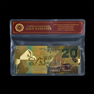 WR Kuwait 20 Dinars Color Gold Foil Banknote Middle East Collection In Sleeve