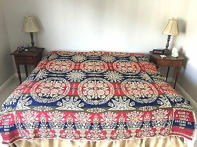 Antique 1853 Fringed Woven Jacquard Coverlet signed by D. Cosley
