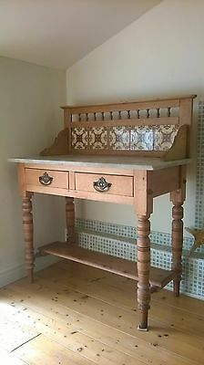 Marble Top Pine and tile back Washstand with turned spindle decoration