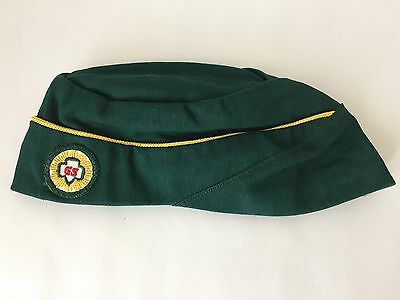 Vintage Girl Scouts Green Cap Beanie Hat Size Small (LH6)