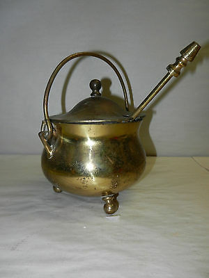 Vintage Footed Brass Fire Starter Smudge Pot Cauldron w/ Wand