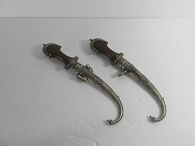 2 Antique Moroccan Handmade Koummya Daggers with Kindjal Wood Handles