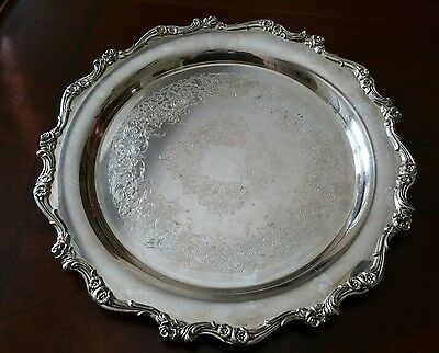 """Webster Wilcox International Silver 11"""" Serving tray.#7370 American Rose Pattern"""