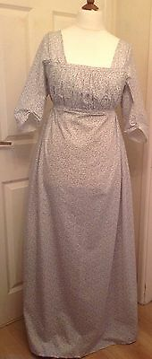 Jane Austen Regency Style Dress Made To Measure Pure Cotton Drop Front Authentic