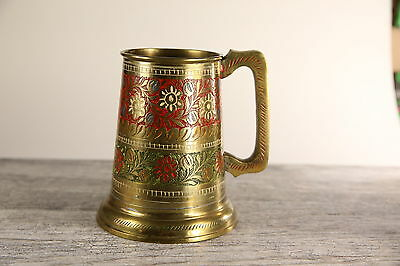 Vintage brass drinking stein with colorfull etched ornaments