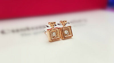Shiny 14K/14ct Rose Gold PL Cute Small Perfume Bottle Crystal Stud Earrings Gift