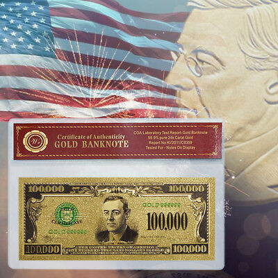 WR Unique Colored US Dollar Bill Note $100,000 Gold Foil American Banknote / COA