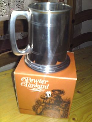 **WENTWORTH** PEWTER TANKARD with GLASS BOTTOM - MADE IN SHEFFIELD.