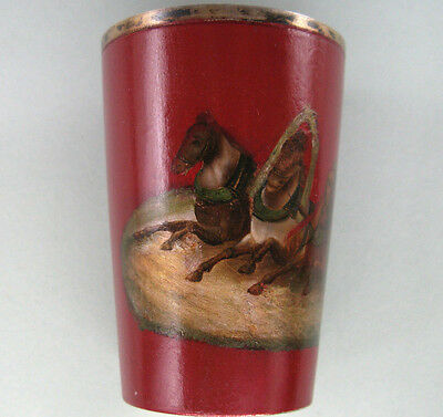Large Imperial Russian Silver Lacquer Hand Painted Troika Scene Cup
