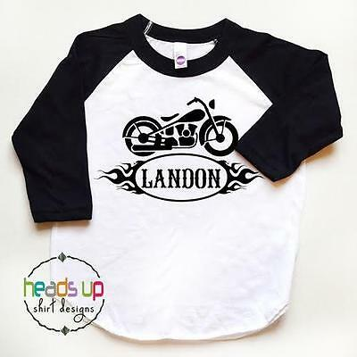 Motorcycle Custom Name Shirt Toddler Boy/Girl Personalized Raglan Baby Kids Tee