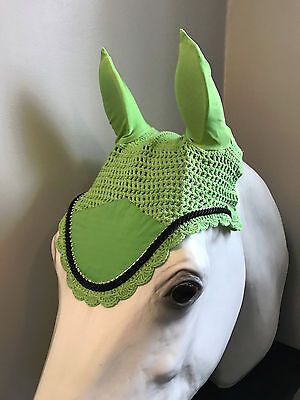 Lime Green Horse Bonnets | Fly Veil | with Bling