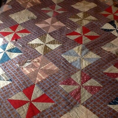 Antique Early Quilt Cutter 19c great fabrics hand quilted