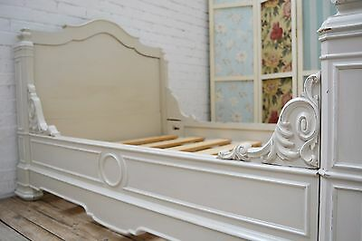 Antique French Louis painted shabby chic Bateau Bed / Day bed