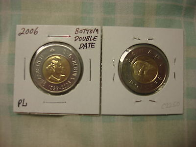 2006 Canada 2 dollar coins-toonies-rare bottom double date-lot of 2