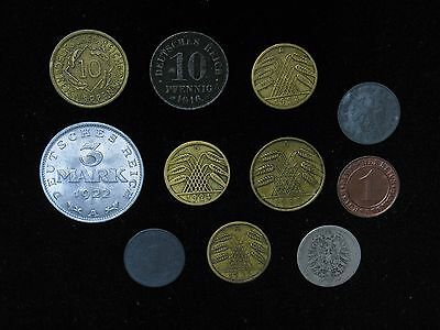 Lot of 11 Germany coins 1874-1944 1,5,10 reichspfennig rentenpfennig pfennig 3 M