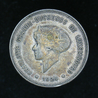 1929 Luxembourg 5 Francs silver coin