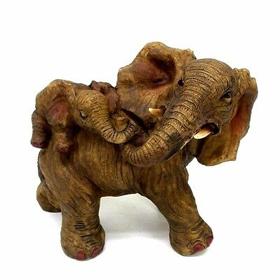 Mother Elephant With Baby on Her Back Figurine Wild Animal Statue