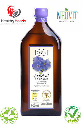 RAW Flaxseed oil / Linseed oil to dr Budwig's diet High omega-3  - 500ML - GLASS
