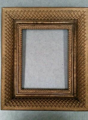 Vintage Gesso Art Deco Gold Tone Wood Ornate Picture Frame 13X15X3  8X10 Opening