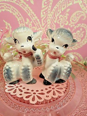 Vtg Anthropomorphic Baby Lamb Sheep W Red Bows Pebbled Fur MOON EYES SET OF TWO