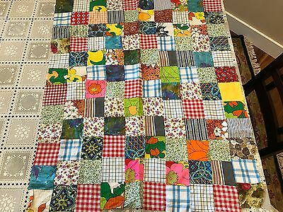 Small vintage square patchwork quilt top