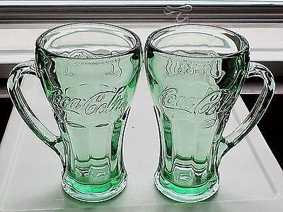 Coca-Cola Green Glass Mugs with handles set of 2