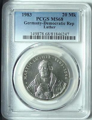 East Germany 1983 20 Mark, Martin Luther, PCGS MS68!!!