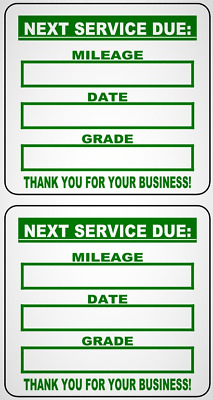 """2"""" x 2""""  Paper Long-Box Non-Custom Stock Oil Change Stickers w/ Removable Adh."""