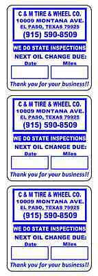 "1 Roll of 500 2"" x 2""  Custom Printed Oil Change Reminder Stickers Labels Decals"