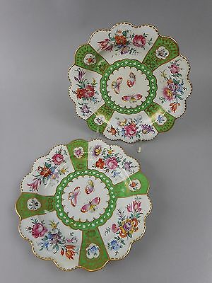 Pair of Antique Chinese/Old Paris Export Scalloped Gold Encrusted Floral Plates