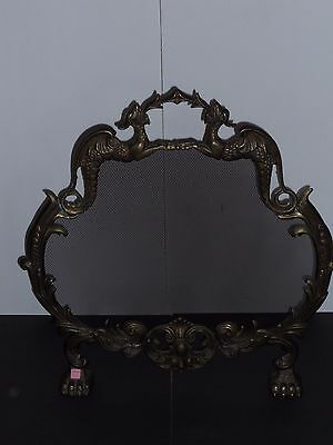 Vintage French Brass Baroque Fireplace Screen Fire Breathing Dragons Claw feet