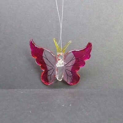 Hand Blown Glass Butterfly Ornament With Pink Wings A