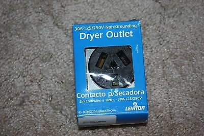 Leviton #5207-K Black 30 AMP Non-grounding Dryer outlet NEW