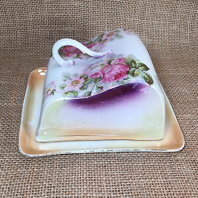 Antique IPF Germany Covered Dish Cheese Plate Rose Floral Ilmenau Porcelain