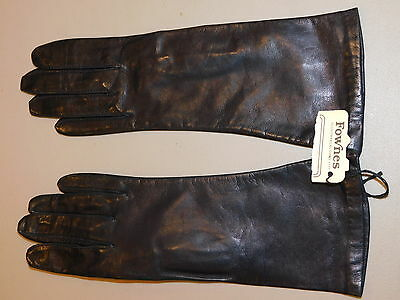 NEW Vintage Fownes Black Ladies size 7.5 Genuine Leather Long length Gloves NWT