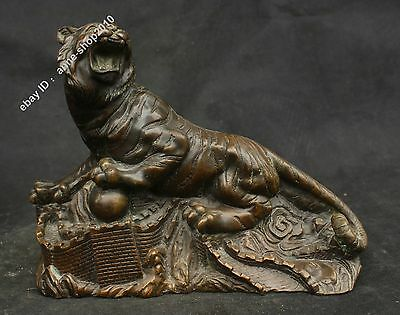 """11"""" Chinese Old Antique Pure Bronze Great Wall Tiger Fengshui Statue Sculpture"""