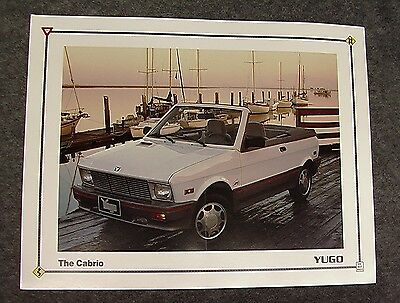 "RARE Vintage YUGO America ""The Cabrio"" Color SALES BROCHURE Ad - FREE Shipping!"