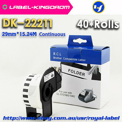 40 Rolls Brother DK-22211 Compatible Labels 29mm*15.24M Come With Plastic Holder