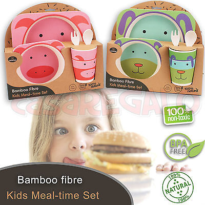 Bamboo Fibre Kids Set Feeding Time Bpa Free Baby Plate Dish Cup Meal Set