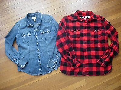 Lot Of 2 Women's Levi's/mossimo Long Sleeve Button Down Collar Shirts/tops Sz M