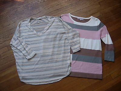 Lot Of 2 Womens Tops/sweaters/shirts In Lite Multi Colors In Size M