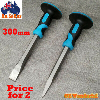 2pcs 300mm Flat and Pointed Cold Chisel Concrete Punch Hand Protector BERENT NEW