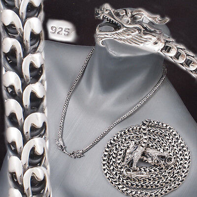 """2 Headed Dragon Mens Necklace Chain 925 Sterling Solid Silver 18 20 22 24 26 28"""""""