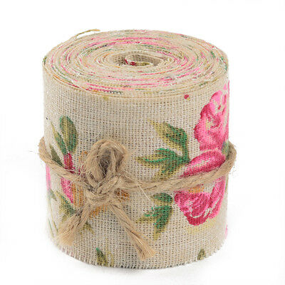 3m Vintage Rose Floral Print Burlap Hessian Ribbon Fabric Wedding Craft Decors