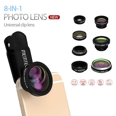 8in1 Clip-On Fisheye Wide Angle Macro Camera Lens Kit for Phone/Tablets Black