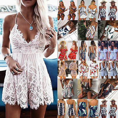 UK Stock Womens Holiday Mini Playsuit Ladies Jumpsuit Summer Beach Dress Shorts