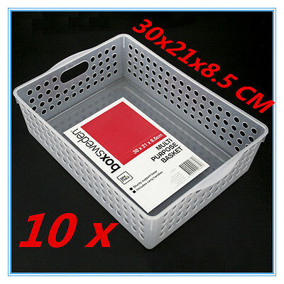 10 Clear White Multi-purpose Plastic Storage Basket Organiser Tubs 30X21X8.5CM W